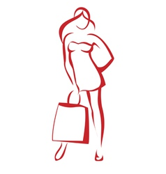 Woman with the shopping bag vector