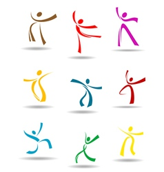 Dancing peoples pictograms vector