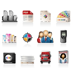 Offset printing icons vector