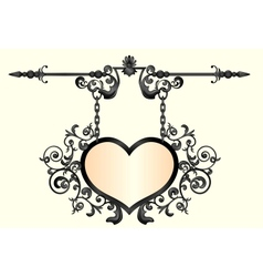 Wrought iron signboard in shape of heart vector
