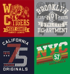 Vintage t-shirt graphic set vector
