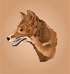 Brown dog head domestic animal vector