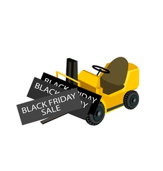 A forklift truck loading black friday card vector