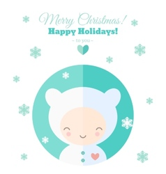 Greeting card with fun child for christmas in flat vector