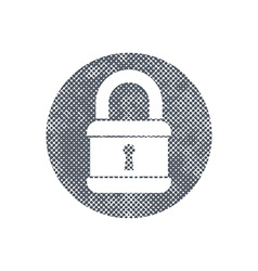 Lock icon with pixel print halftone dots texture vector