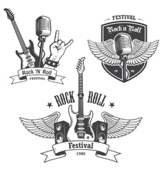 Set of rock and roll music emblems vector