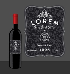 Decorative wine bottle label template vector