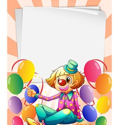 Empty bondpapers with a clown and balloons vector