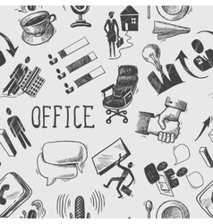 Office sketch seamless pattern vector