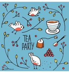 Garden tea party with birds twigs and berries vector