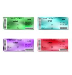 Set of color blurred concert tickets vector