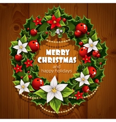 Banner with christmas wreath and wish happy vector