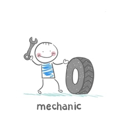 Mechanic holding a wrench and a wheel vector