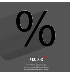 Percent flat modern web button with long shadow vector