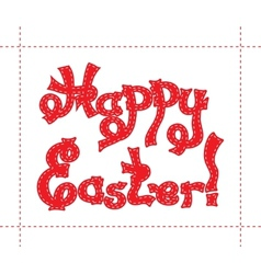 Hand drawn sketch of red text happy easter with vector