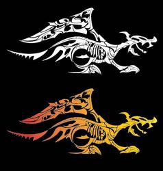 Dragon fosil tattoo isolated on black background vector
