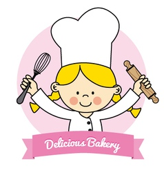 Little chef girl vector