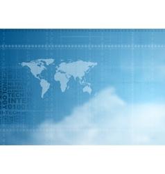 Hi-tech background in cloudy sky vector