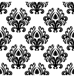 Black floral damask seamless pattern vector