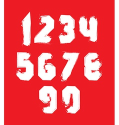 Handwritten white freak numbers stylish digits set vector