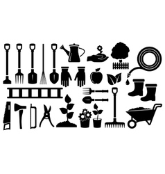 Set black garden tools vector