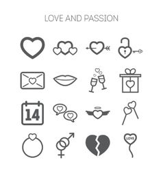 Set of simple love icons for saint valentine day vector