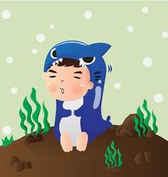 Shark boy vector
