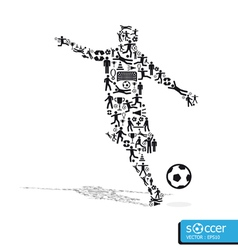 Active soccer player shape with icons vector