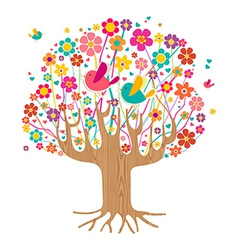 Isolated spring time tree vector