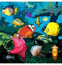 Cartoon underwater world with fish starfish vector