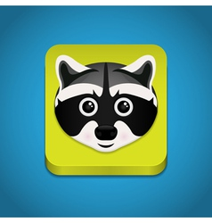 Icon with raccoon face vector