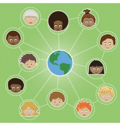 Networking kids around the world vector