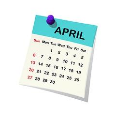 2014 calendar for april vector