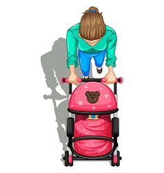 A topview of a mother pushing a stroller with a vector