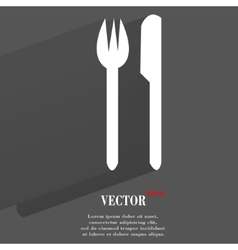 Cutlery knife fork flat modern web button with vector