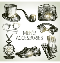 Sketch gentlemen accessories hand drawn men set vector