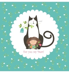 Little girl and her cat vector