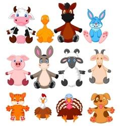 Farm animal cartoon collection vector