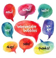 Watercolor speech bubbles set vector