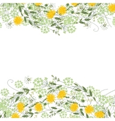 Detailed contour square frame with herbs daisy vector