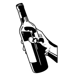 Holding a bottle of wine vector