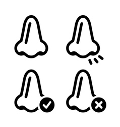 Nose smell black icon set vector