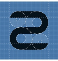 Round engineering font symbol z vector