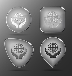 Protection world glass buttons vector