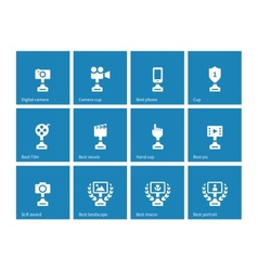 Awards icons on blue background vector