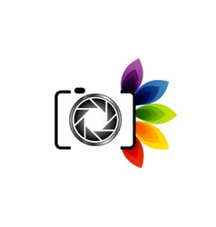 Photography logo with colorful leaves vector