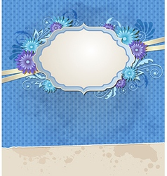 Blue vintage ragged paper background vector