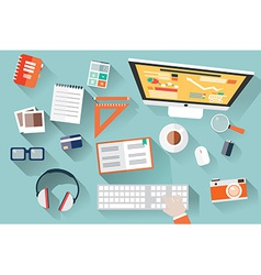 Flat design objects work desk long shadow office vector