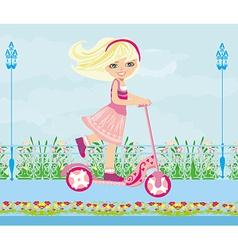 Little blonde girl riding a scooter vector