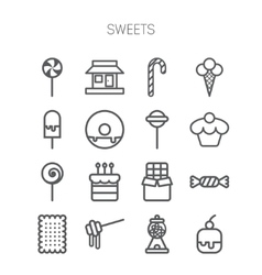 Set of simple icons with sweets and candis vector
